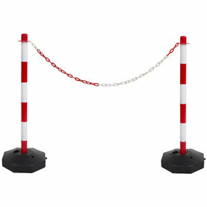 Red & White Safety Crowd Barrier Security Fence Post Base Set & 5m Plastic Chain