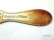 Antique Brass Adv. CLARENCE O'BRIAN PATENT ATTORNEY LETTER OPENER  1920's