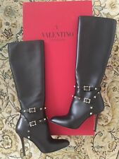 Valentino Rockstud Black Over The Knee Leather Classic Boots 6 36 ca757a0cc39f1