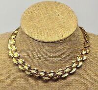 Vintage Napier Leaf Necklace Choker Gold Tone Fall Autumn Fashion 16 inches