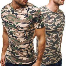 Cotton Blend Camouflage Short Sleeve Basic T-Shirts for Men