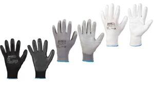Montage Arbeitshandschuhe in weiß oder grau Gr. 6 bis 11, für Werkstatt u Garten