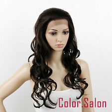 Hand Tied Synthetic Hair Lace Front Full Wigs Glue Dark Brown 26#4a