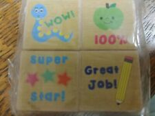 """4 - New Rubber Stamps- Set of 4 - 1"""" Wood Mounted School Teacher Grading Stamps"""