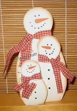 Wood Cut Out Sign Country Primitive 3 Stacking Snowman Family Holiday Decor
