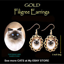 Himalayan Longhair Cat - Gold Filigree Earrings Jewelry