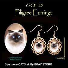 Himalayan Longhair Cat - Gold Filigree Earrings Jewelry