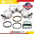 Pistons w/ USA Rings fit 93-97 Geo Prizm Toyota Corolla 1.6L DOHC 4AFE 16V