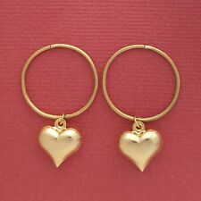 Gold Plated Sterling Silver Sleepers Heart Earrings 20mm Hinged love hoops New
