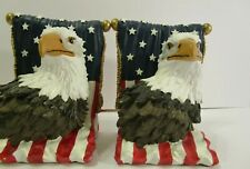 Eagle Bookends Patriotic Handpainted Red White Blue By Avery Creations great con
