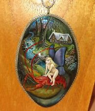 Genuine hand painted Shell in German Silver FAIRY GIRL on Lobster LARGE pendant
