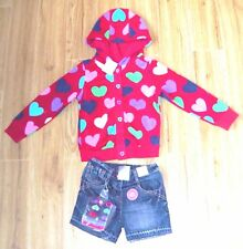 BNWT NEXT GIRLS HEART HOODY JACKET DENIM SHORTS & TIGHTS 4-5 YRS NEW SPRING RED