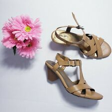 Coach And Four Women's Shoes Ankle Strap Sandals Cone Heel Tan Size 8.5