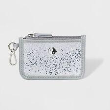 Wild Fable Card Case ID Holder Yin Yang Zippered Silver Gray Glitter Keychain