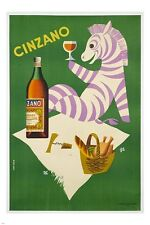 cinzano zebra vintage liquor ad poster COLORFUL FUN STRIPES collectors 24X36