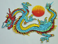 BLUE CHINESE DRAGON BALL SUN Embroidered Iron Sew On Cloth Patch Badge  APPLIQUE