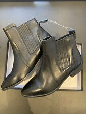 Superdry Ladies Leather Ankle Boots Size 4 Black