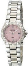 NEW Ladies Citizen Eco-Drive 24 Diamonds Pink Dial Stainless St Watch EW0890-58X