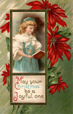 Vintage 1910 Embossed Christmas Postcard Dutch? Child with Book Germany #Pc0104