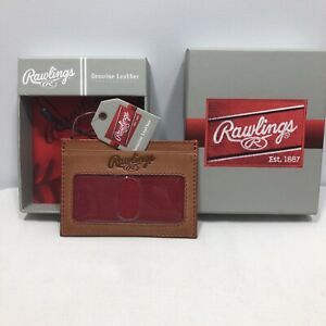 Rawlings Baseball Stitch Card Case Wallet - Baseball Glove Leather - Tan **NEW**