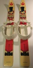 Vintage Child Youth Skis With Clown Image Plastic Bindings Austria