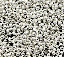 3000 Perles Intercalaires Lisse Ronde Argenté 2mm