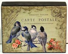Shabby Cottage Chic French Postcard Roses & Birds Block Shelf Sitter Wall Plaque