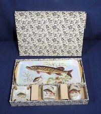 Vtg Royal Bavaria Fish Platter Toothpick Holder Cigarette Holder 2 Ashtray Set