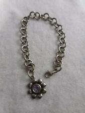 """925 STERLING ROUND LINK 7"""" BRACELET WITH SILVER & AMETHYST CENTER FLOWER CHARM"""