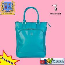 TRUSSARDI JEANS Borsa donna comoda trendy tracolla foderata fashion Blu Azzurro