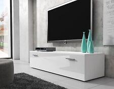Meuble TV Armoire Bas Boston 150 cm Corps Blanc Mat / Avant Blanc Brillant