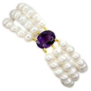 Unheated Oval Amethyst 17x13mm Pearl 925 Sterling Silver Bracelet 8.5 Inches