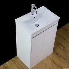 Vanity Unit Basin Sink Bathroom Floor standing storage Gloss White Tap 500MM R50