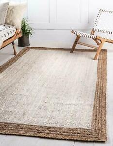 Rug 100% Natural Jute Braided 6x9 Feet White Runner Rug Area Rug Modern Carpet