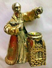 "Brass Metal 3"" Gnome Mystical Man w Jewel in Basin Figurine - Mg"