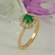 Echtschmuck im Cluster-Stil aus Gelbgold mit Smaragd für Damen Ringe