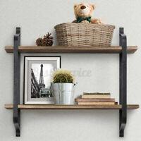 2 Tiers Vintage Wood Floating Shelves Display Storage Ledge Wall Mounted Shelf