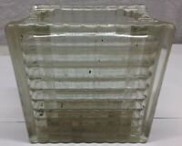Vintage Architectural Reclaimed Ribbed Glass Block  5.75x5.75x3.75 Estate Find