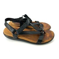 Gentle Souls Women Black Leather Sandals Size 8M Casual