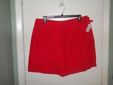 Westbound Ladies Linen Skort Size 18 Red Wrap Front 7 Inch Inseam NWT