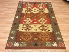 Handwoven Caucasian Tribal Kilim Green Brown 100% Wool Rug XXL 248x300cm 50%OFF