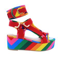Liliana BARISTA-3 Rainbow Neoprene Elastic Strappy Open Toe Wedge Platform Heel