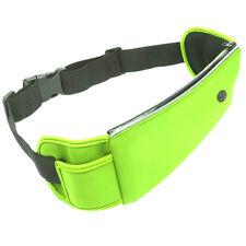Verde de gran capacidad al aire libre corriendo Multifunción Correa De Cintura Bolso Auriculares agujero