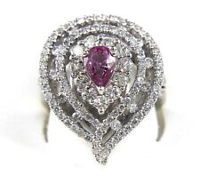 Pear Pink Sapphire & Diamond Cluster Cocktail Ring 14k White Gold 2.88Ct