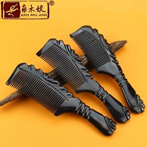 Natural Black Buffalo Horn Comb Hair Brush Fine Toothed Comb Massage Comb