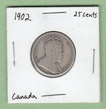 1902 Canadian 25 Cents Silver Coin - Good