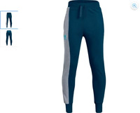 Under Armour Boys Teal Rival Blocked Jogger Sweat Pants, Size YXL