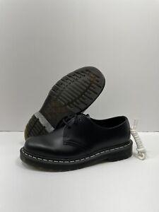 Dr Martens 1461 Contrast Men Sz 9 Women Sz 10 Stitching Black Leather White Lace