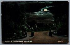 Postcard Trenton NJ c1908 Entrance To Cadwalader Park Night View Mercer County
