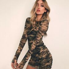 new Sexy Women Camouflage Mesh Pattern Bodycon Long Sleeve Perspective Dress